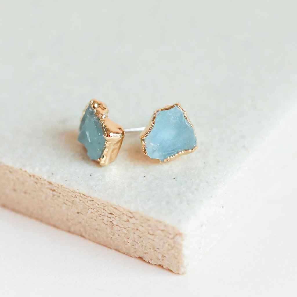 Aquamarine Stud Earrings Gold