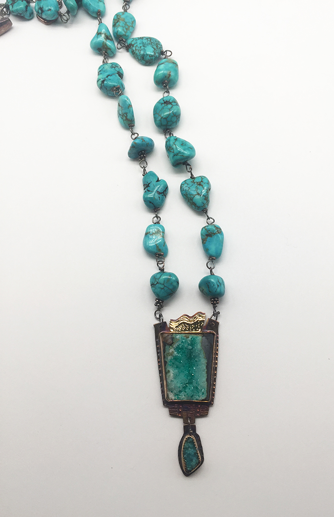 Chrysocolla, Sterling and 22K Necklace on Turquoise Beads