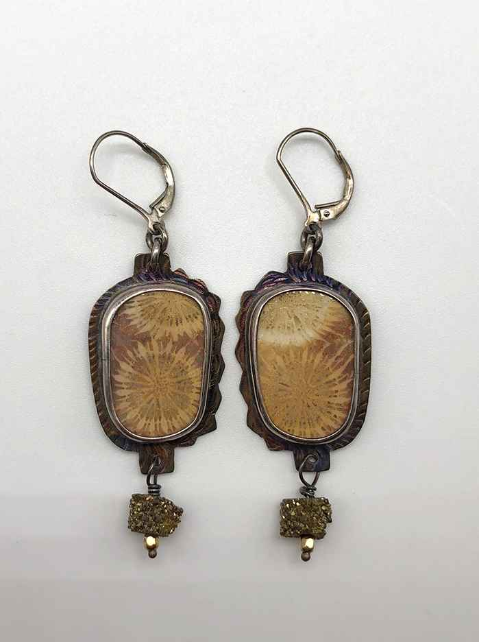 Fossilized Coral and Sterling Silver Earrings