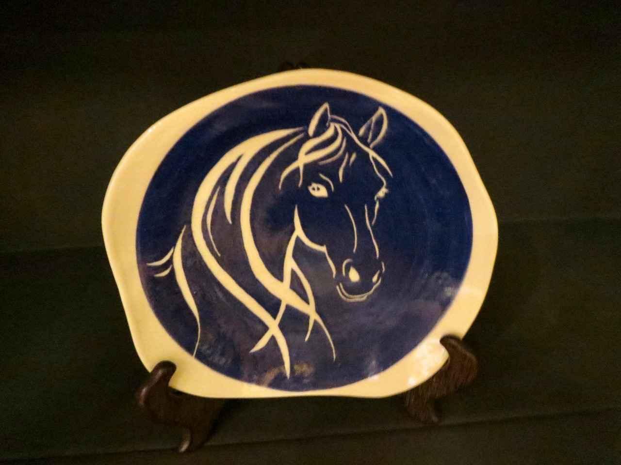 Dark Blue Horse Plate... by Ms. Birgitta Frazier - Masterpiece Online