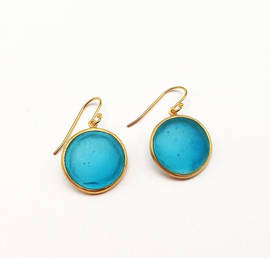 Bubble Dainty Wire Earrings in Turquoise