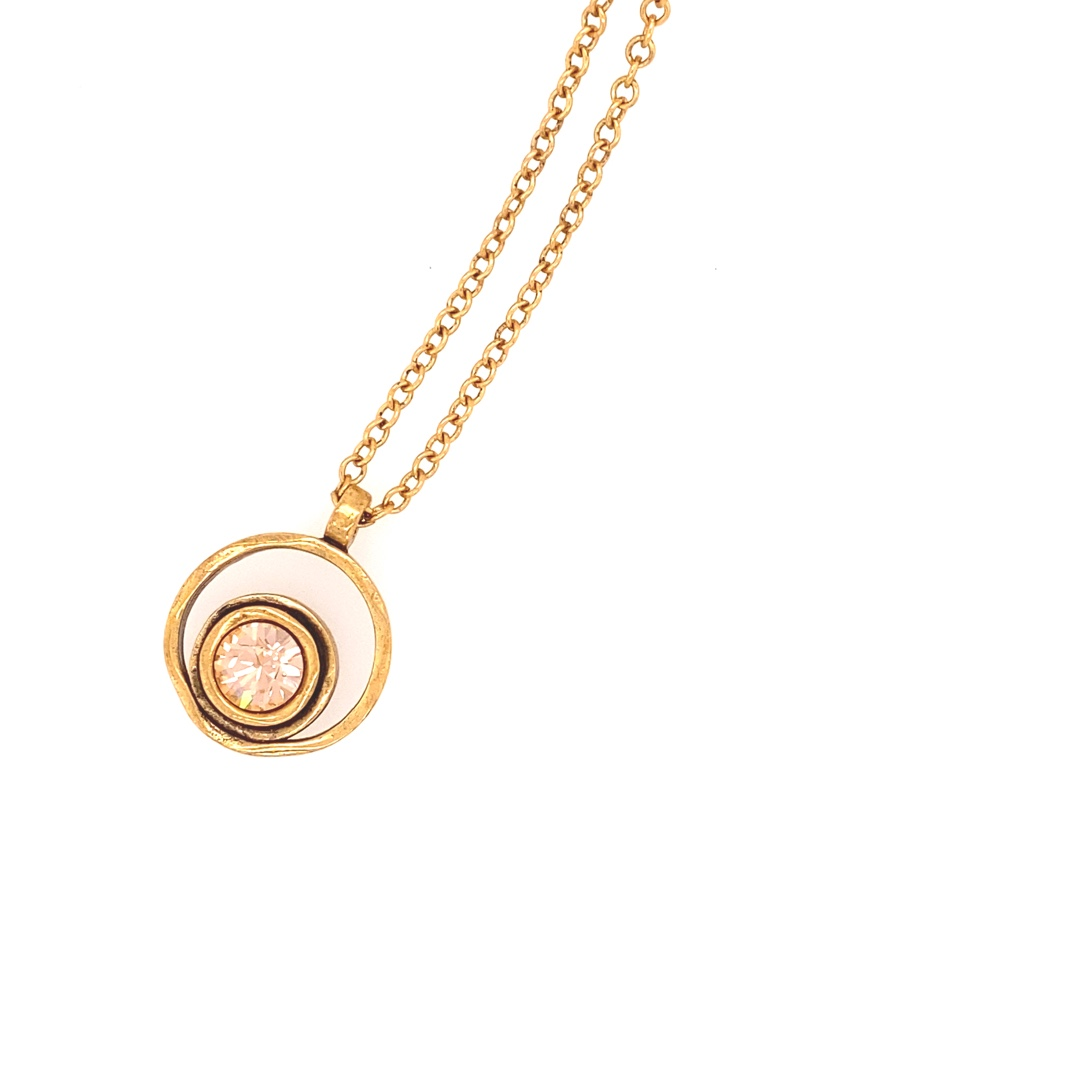 Serenity Necklace in Gold, Light Peach