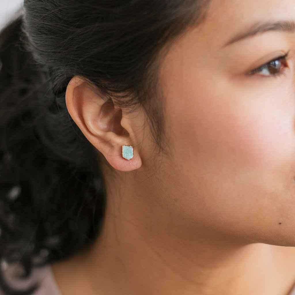 Amazonite Stud Earrings Gold