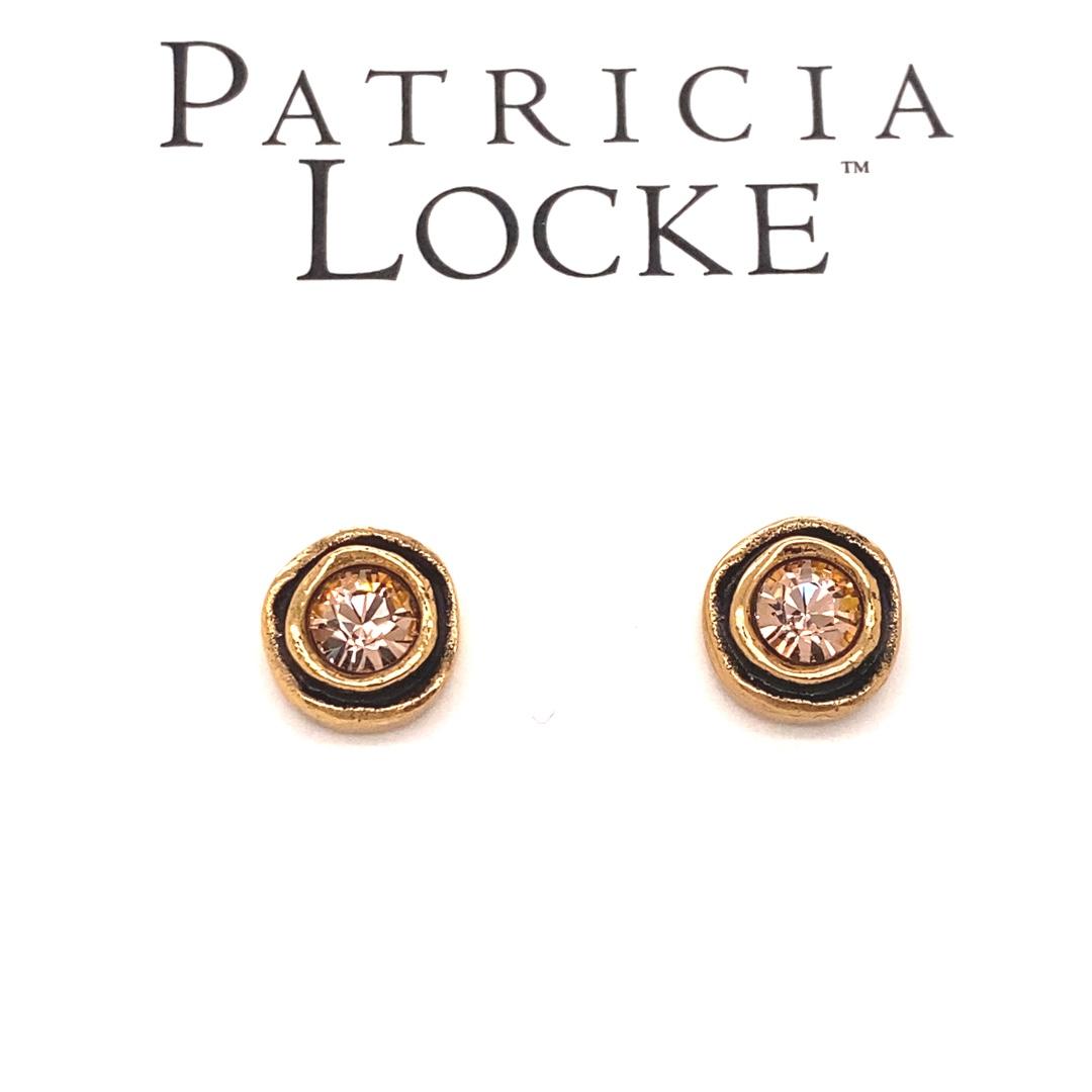 On the Dot Earrings in Gold, Light Peach