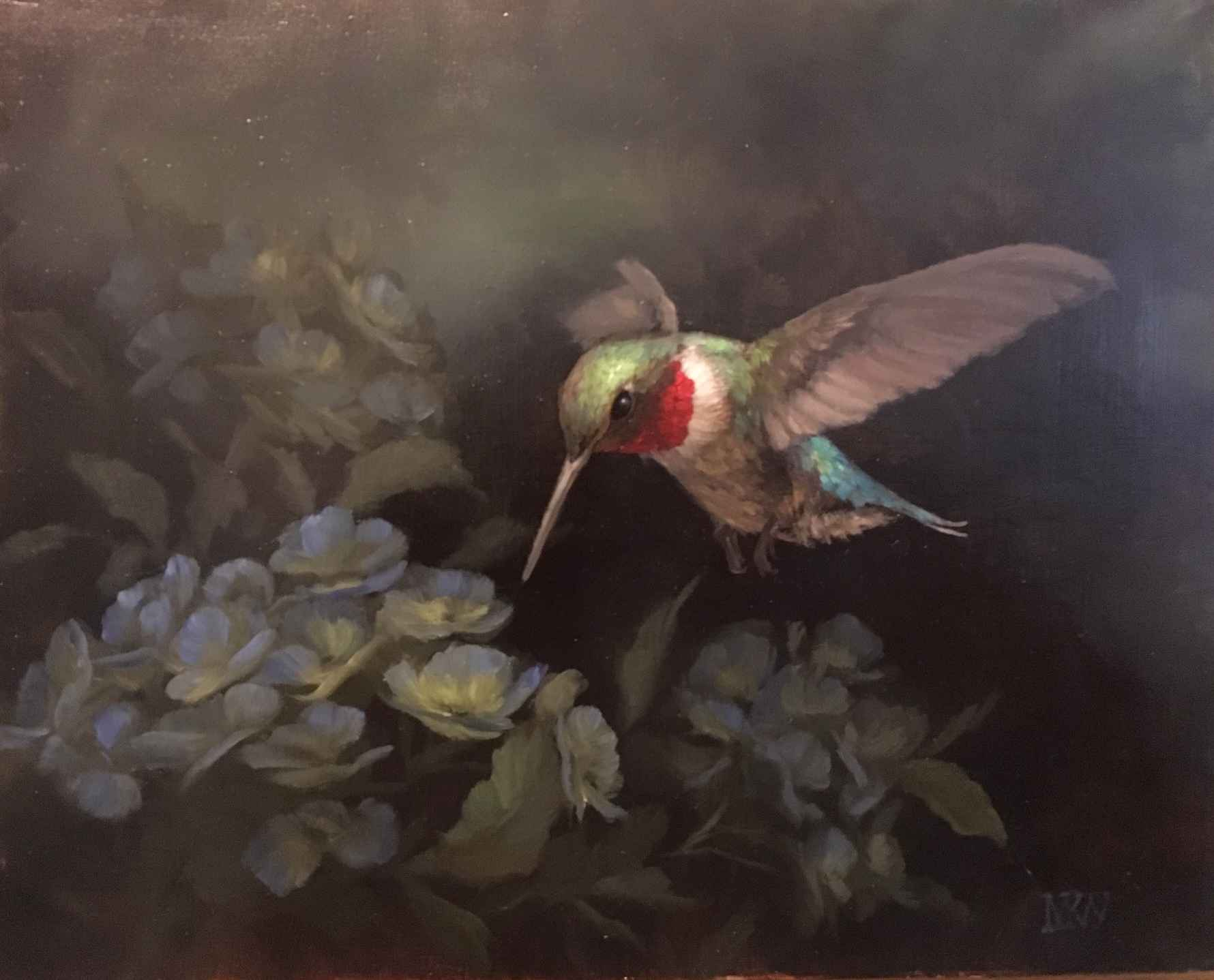 Hummingbird with Hydr... by  Mary Kay  West  - Masterpiece Online