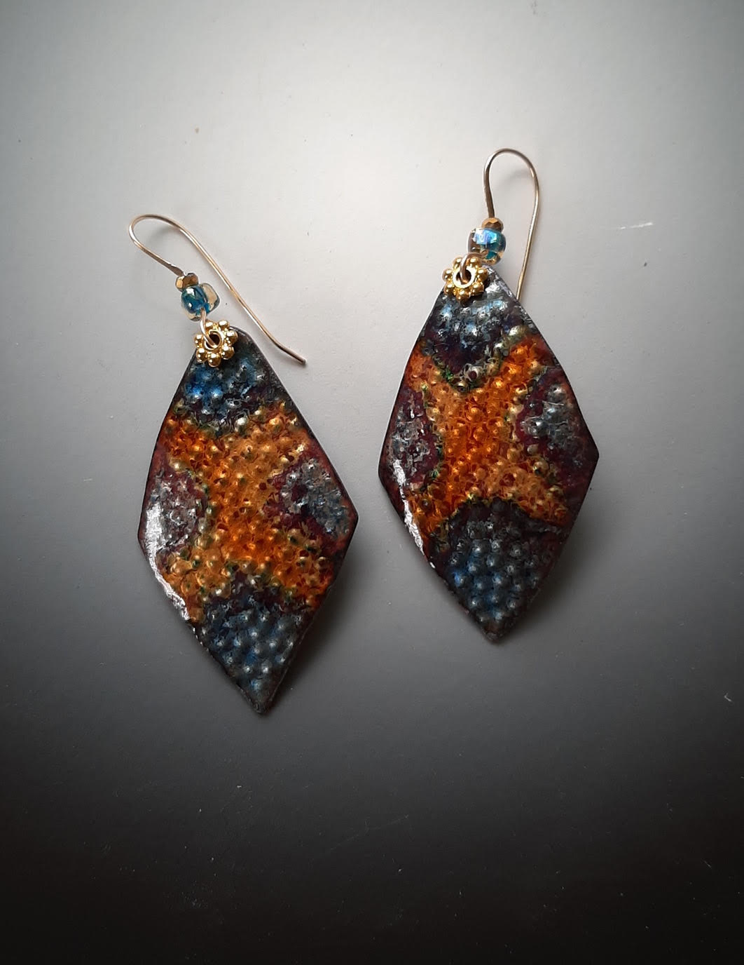 Rhombus Earrings with Gold Filled Hooks