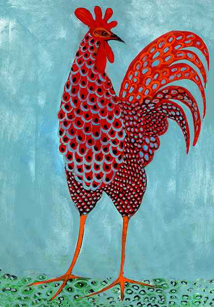 DP-Swanky Rooster (md) by  P. Buckley Moss  - Masterpiece Online