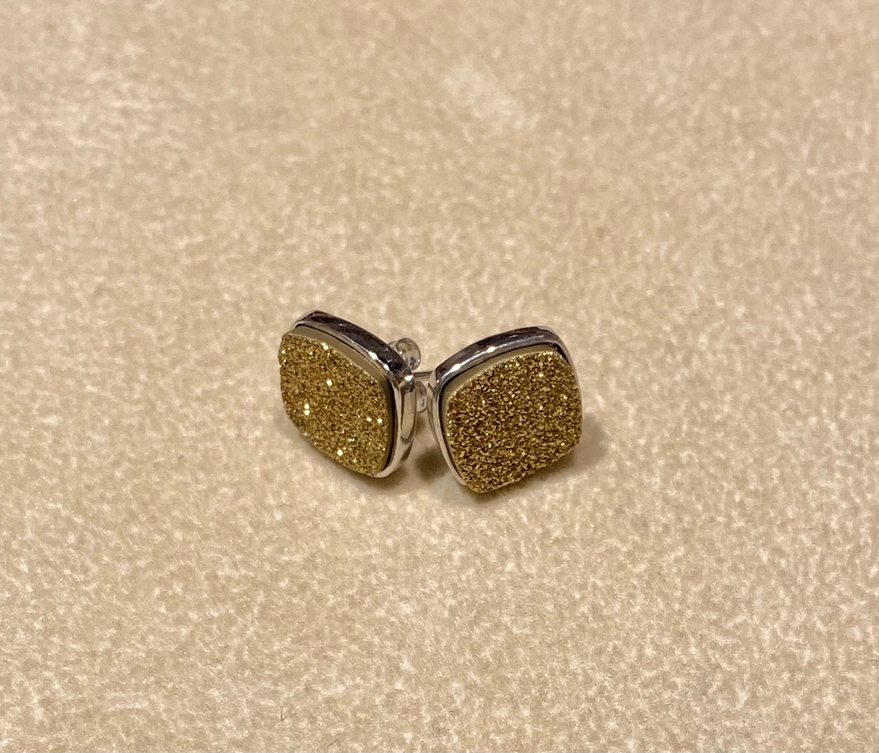 Gold Druzy in Silver Earrings