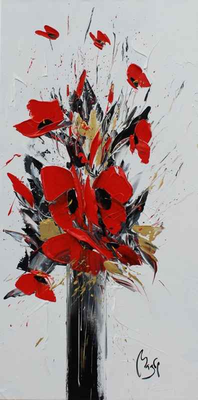 Gold Leaves, Red Popp... by  Louis  Magre - Masterpiece Online