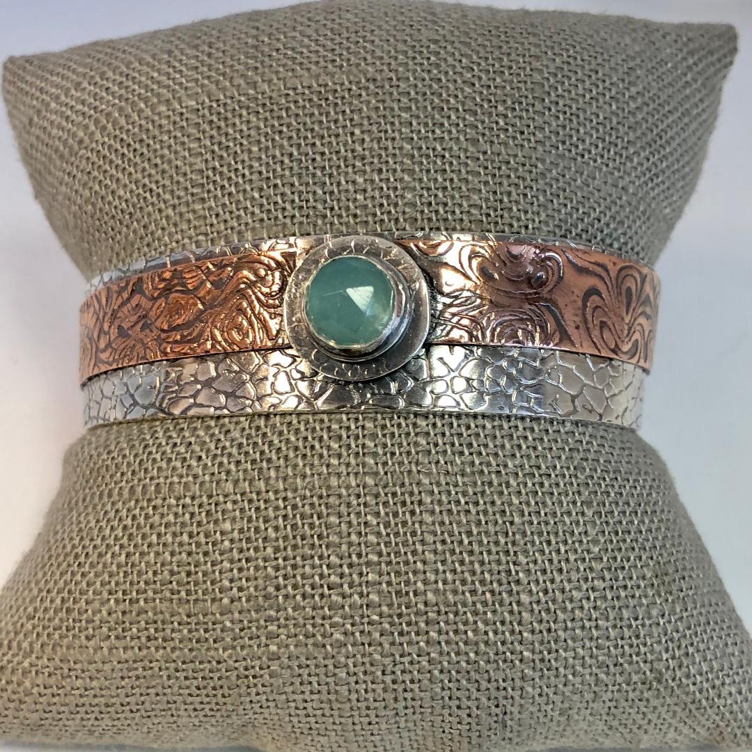 Seafoam Chalcedony Cuff in Sterling Silver and Copper
