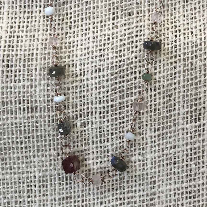 Rose Gold Filled Wire Wrap and Mixed Gemstone Necklace 18