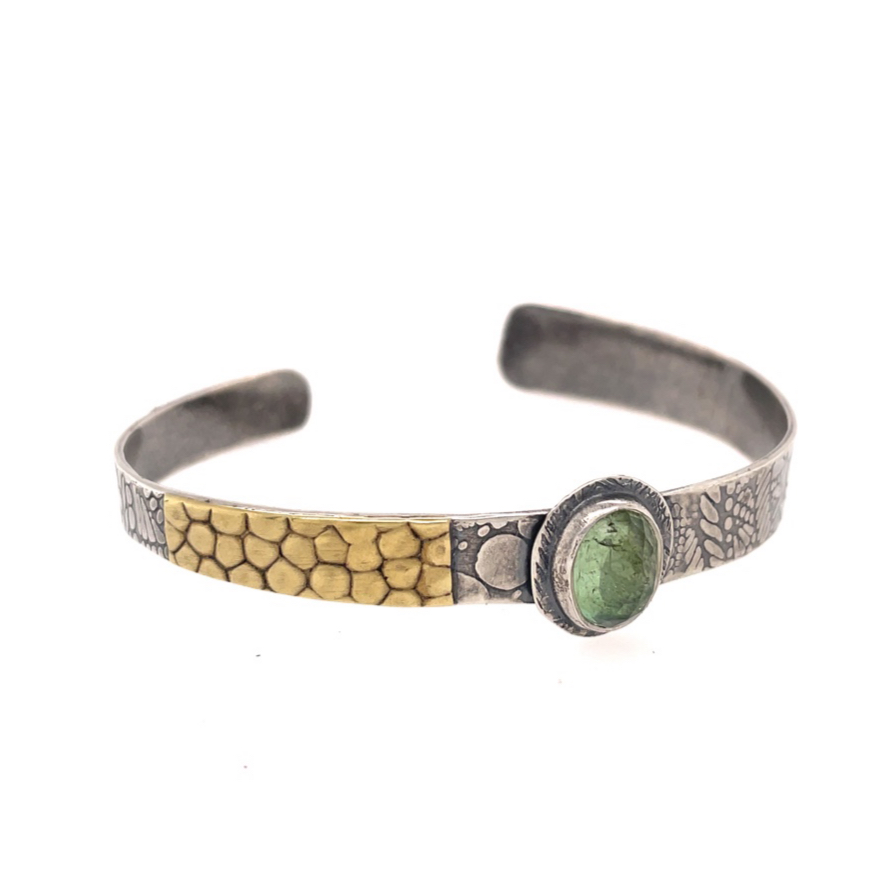 Sterling, Bronze and Green Tourmaline Narrow Cuff