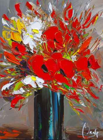 Vase of Red Poppies
