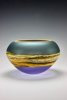 Open Bowl in Translucent Sage Cobalt