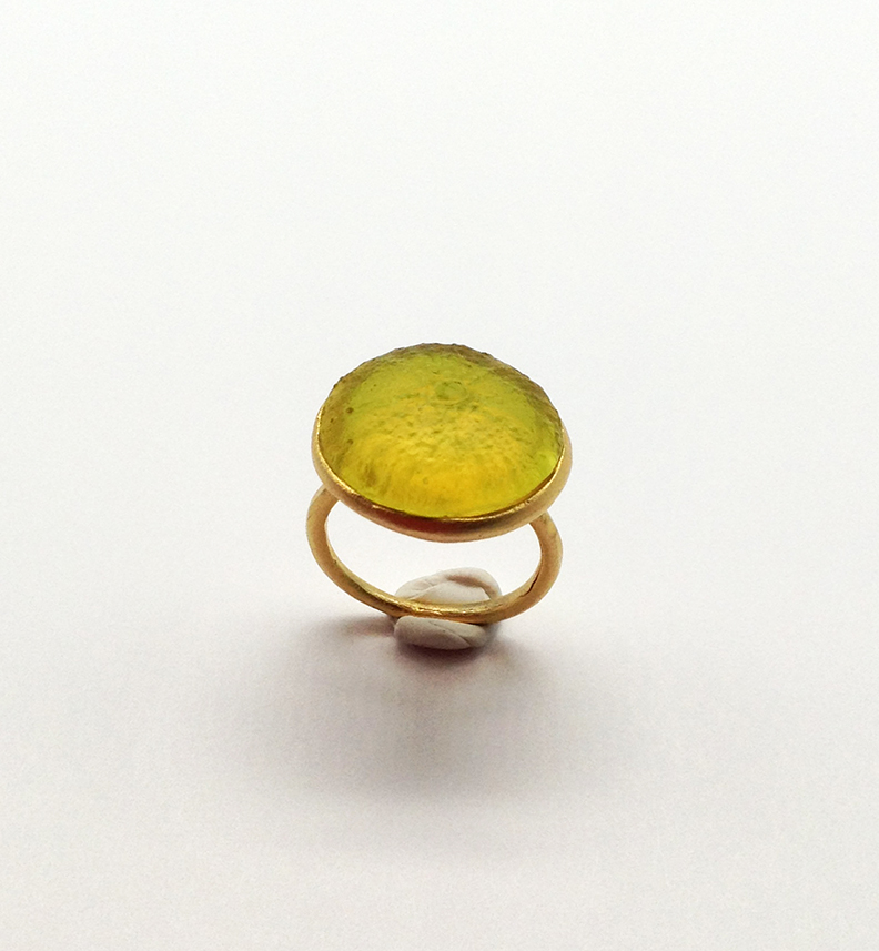 Sea Urchin Ring in Lime Size 5.5