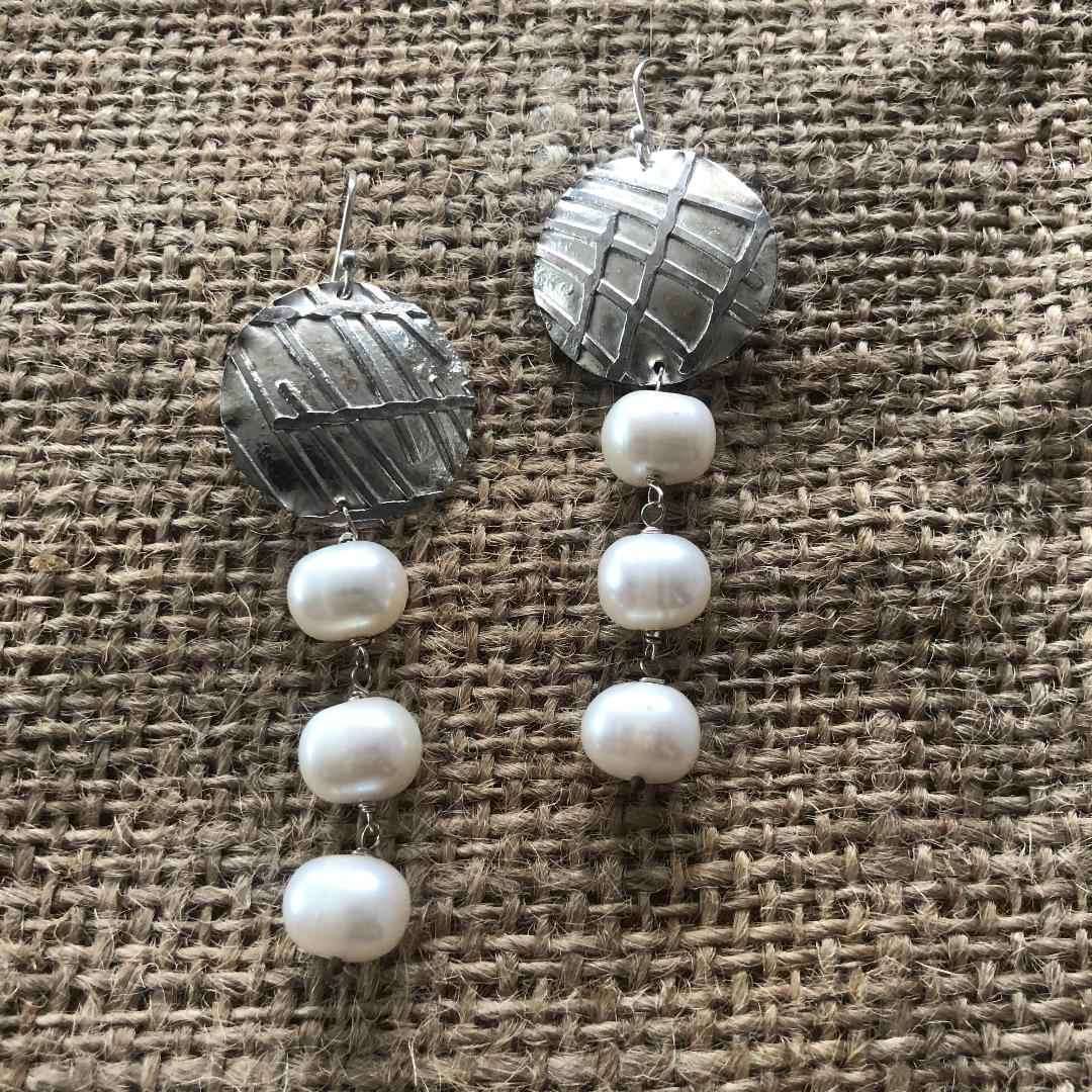 Silver and Pearls Earrings