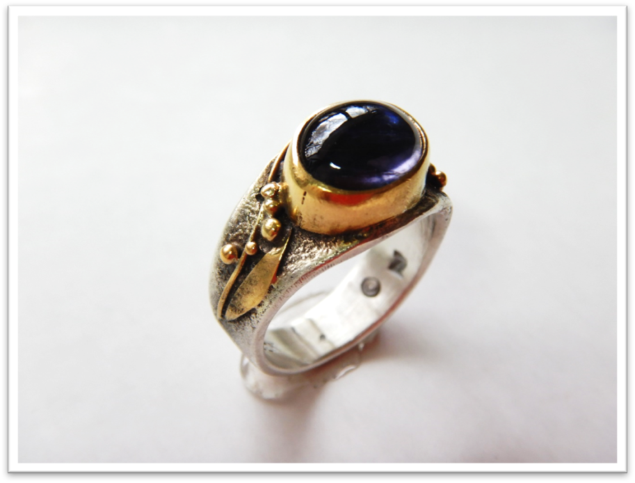 Botany Iolite, Sterling and 22k Ring, Size 6 3/4