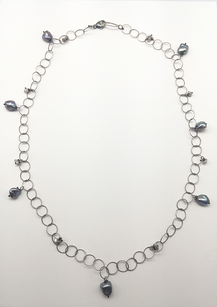 Pearl and Sterling Chain Necklace