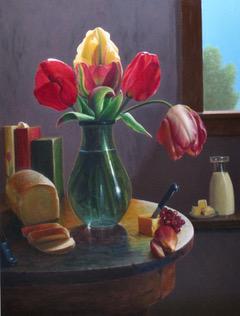 Kitchen Arrangement with Tulips