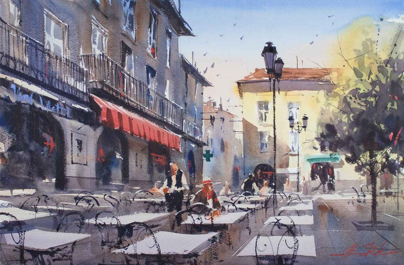 Lunch in Limoux by  Ron Stocke - Masterpiece Online