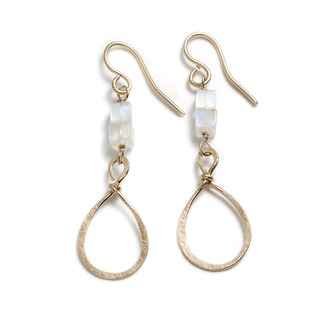 Ertuscan Earrings Hand-Hammered 14k GF wire and Monestones 2