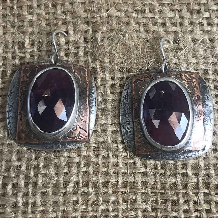Square Sterling, Copper and Natural Pink Sapphire Earrings