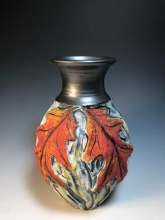 Red Oak Vase with Black Top