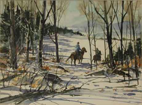 Winter Scene with Cow... by  Ray Ellis - Masterpiece Online