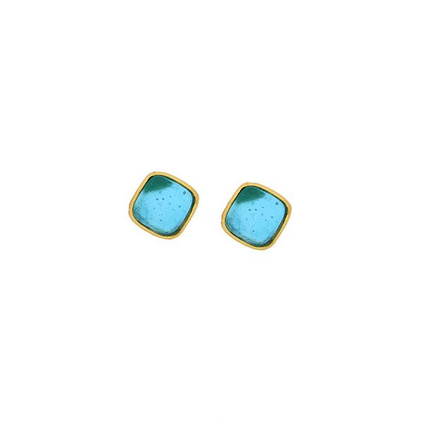 Bubble Diamonds Post Earrings in Turquoise