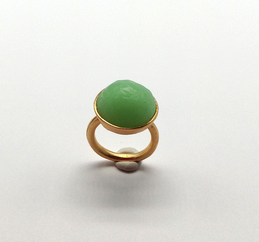Sol-Single Stone Ring in Mint Size 6.5