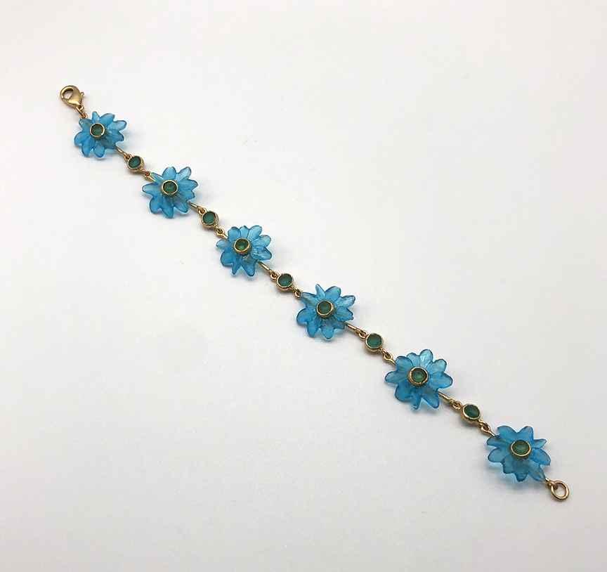 Margarita Bracelet, Bronze and Cast Glass, 7 1/2