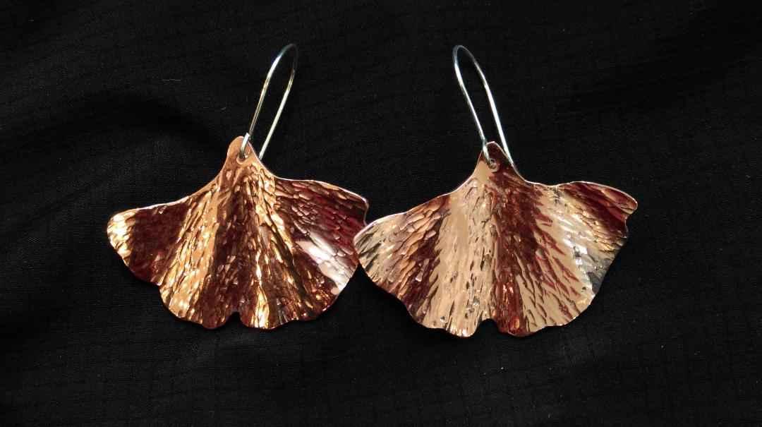 Copper Ginko Leaf Ear... by  Penny Berglund - Masterpiece Online