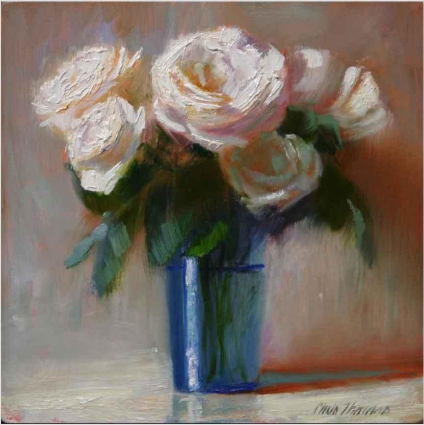 White Roses in Blue G...