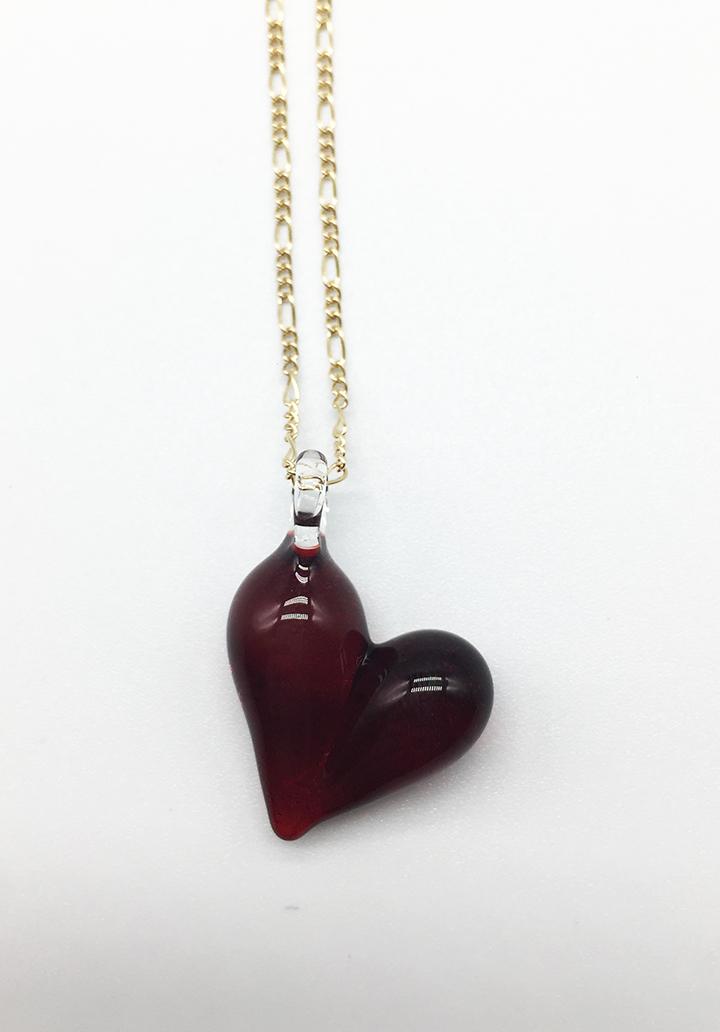 Ruby Heart Pendant on 18