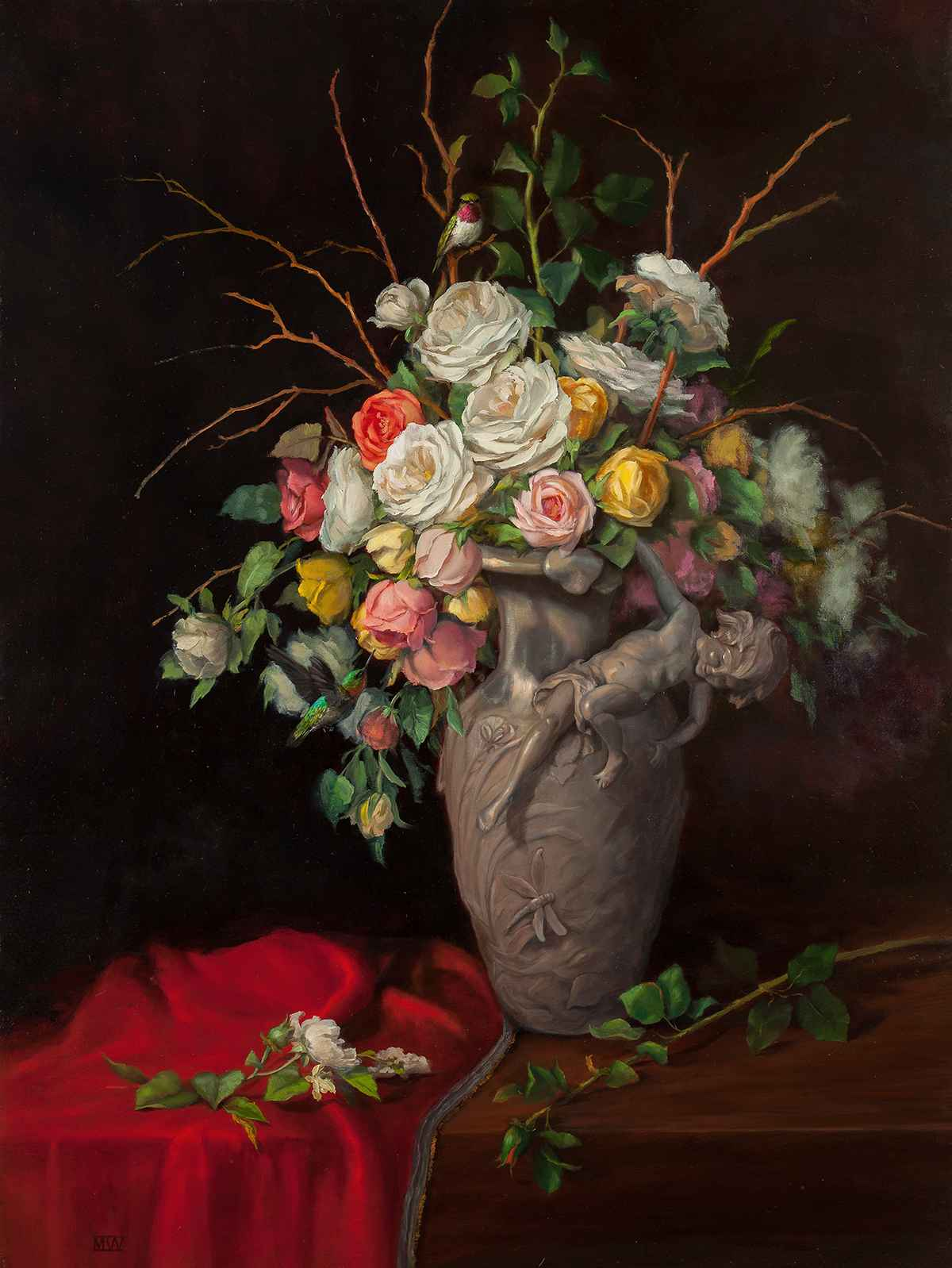 Italian Vase and Roses by  Mary Kay  West  - Masterpiece Online