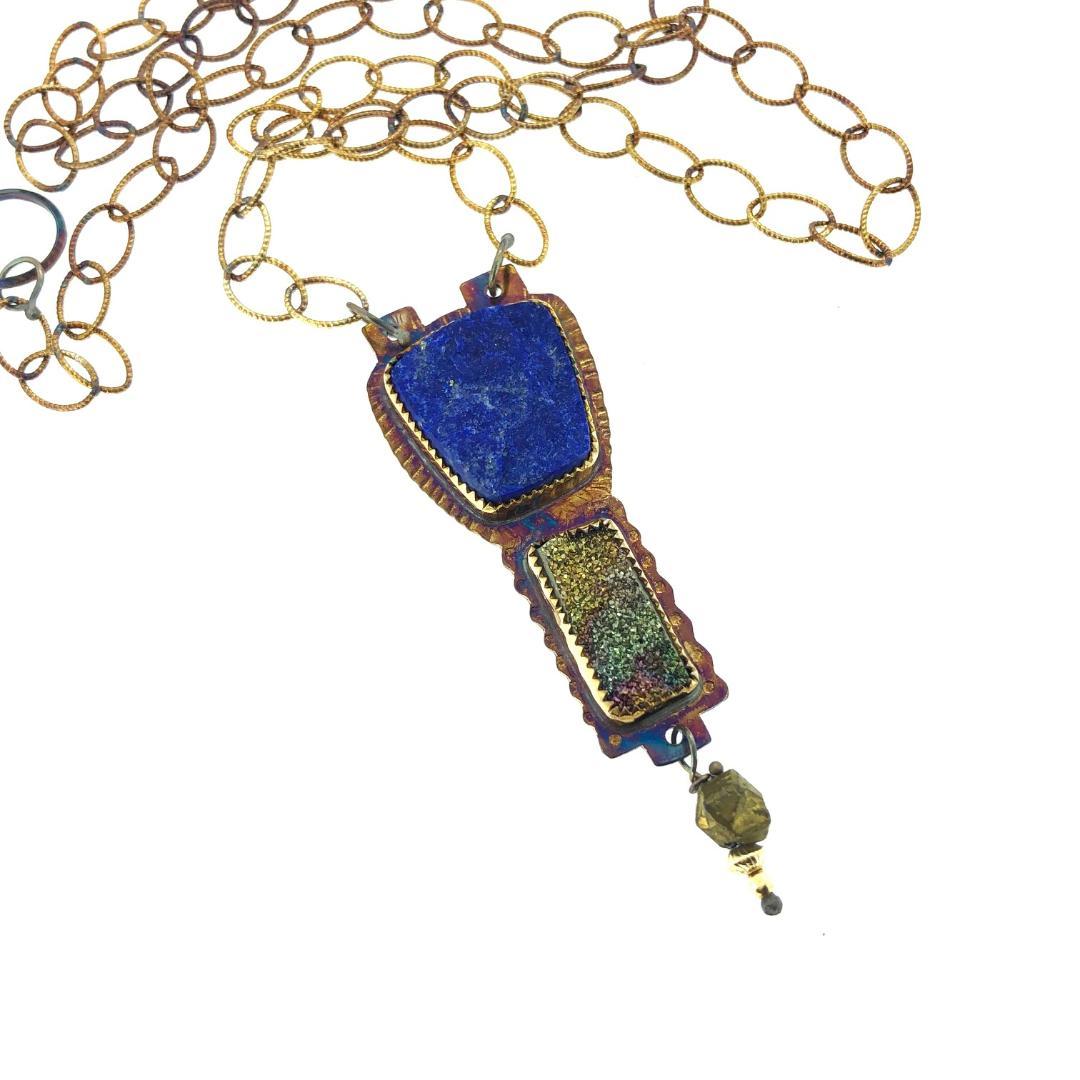 "Lapis and Pyrite Druzy Necklace, length 22"""
