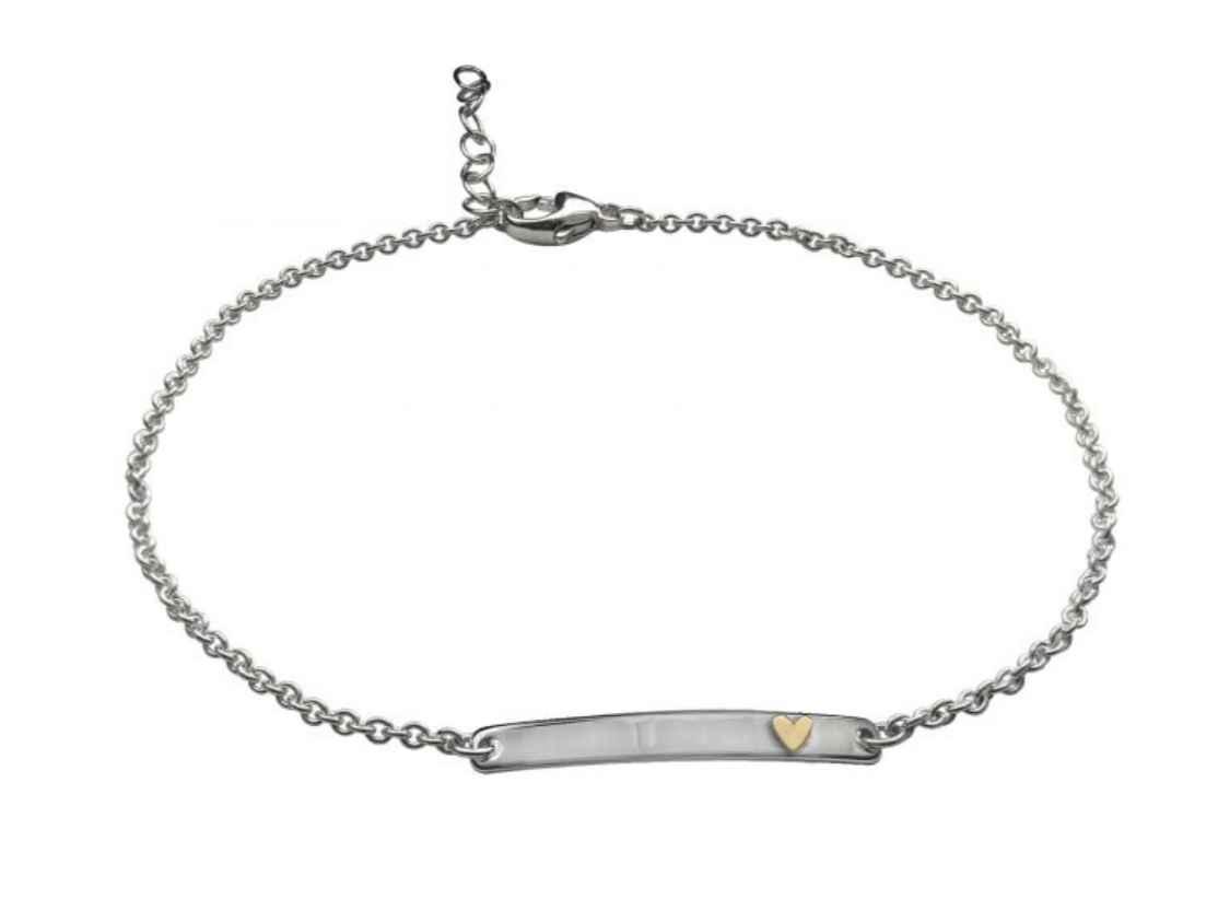 Heart Anklet Sterling Silver/14k Gold