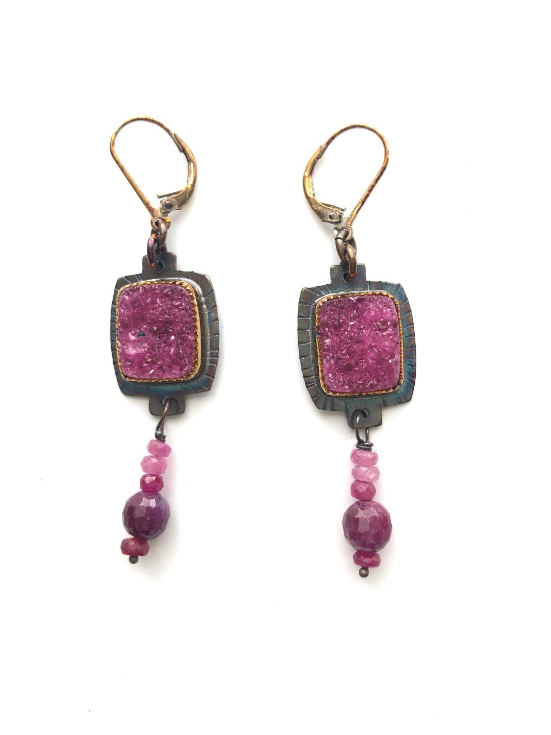 Cobalto Calcite Druzy and Rubies Earrings in Sterling Silver
