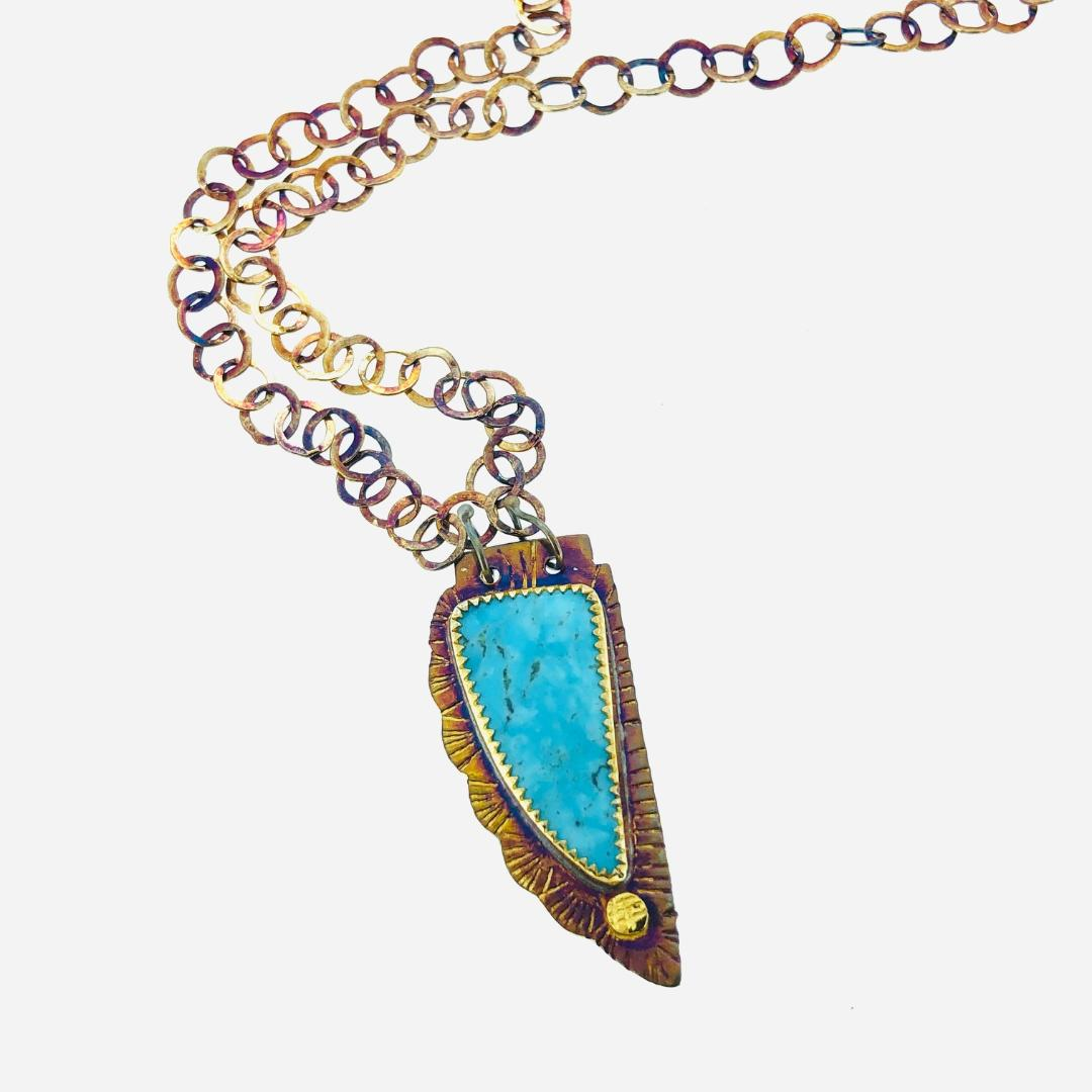 "Kingman Turquoise Necklace, 19"" long"
