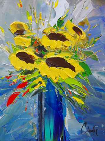 Sunflowers by  Louis  Magre - Masterpiece Online