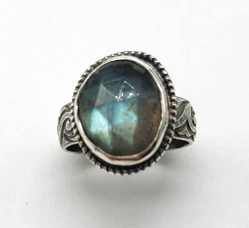 Labradorite and Silver Ring Size 9