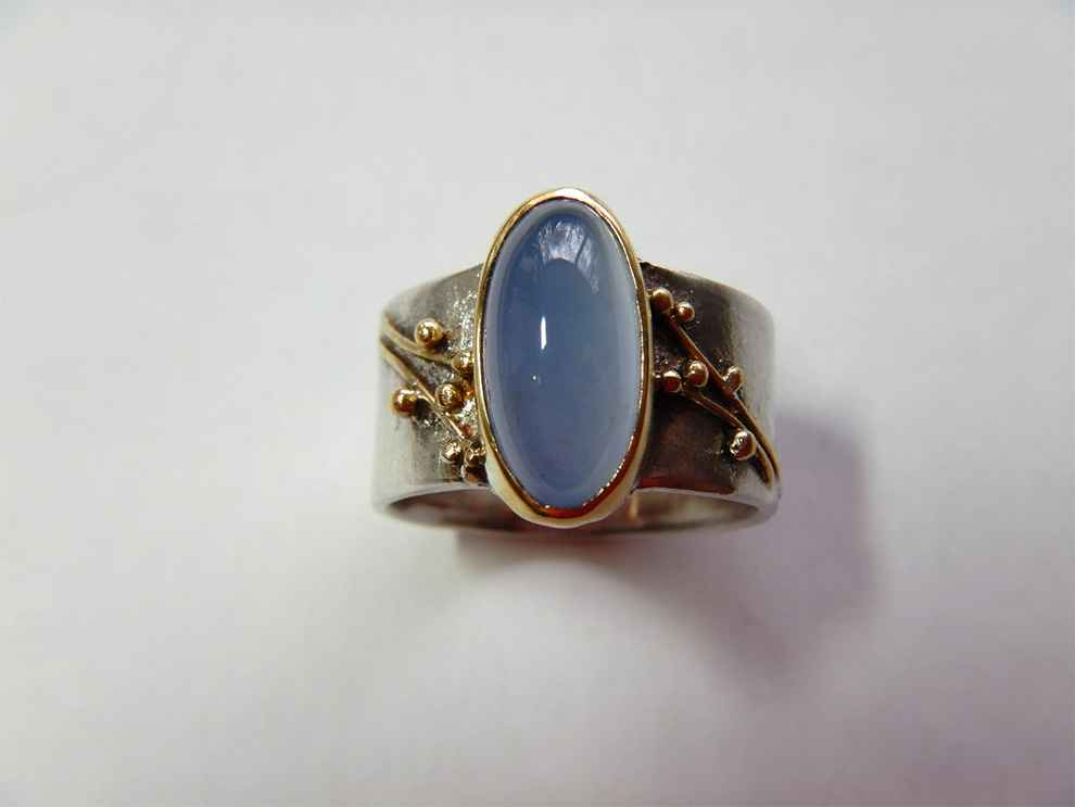 Sterling, 22k Gold and Botany Blue Chalcedony Ring, size 7 1/2