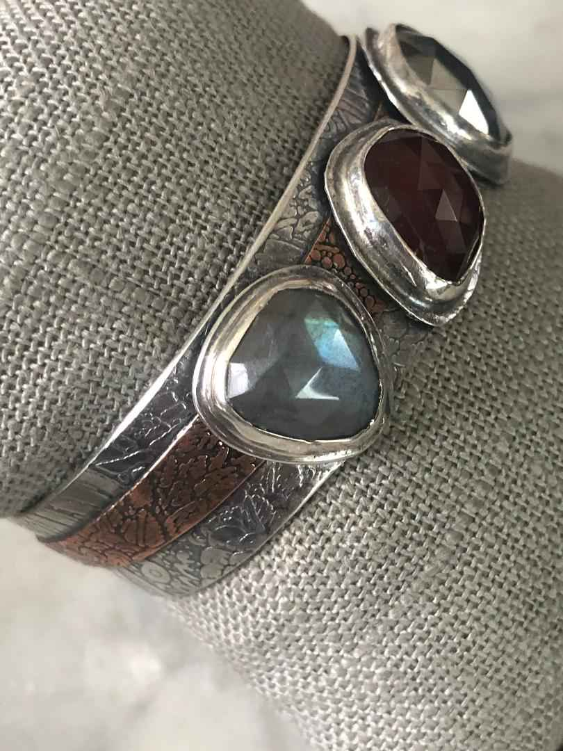 Mixed Gemstone Cuff Sterling, Copper, Labradorite, Grossular Garnet and Pyrite
