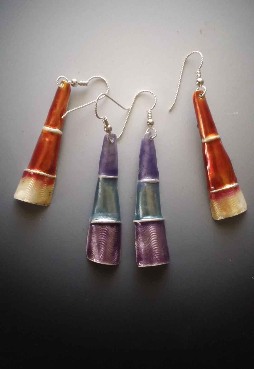 Folded Silver Enamel Earrings, Red