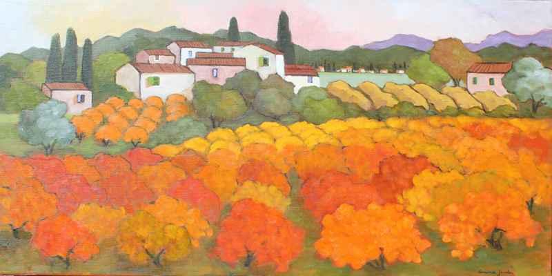 Village au Maisons Bl... by  Lorraine  Jordan - Masterpiece Online
