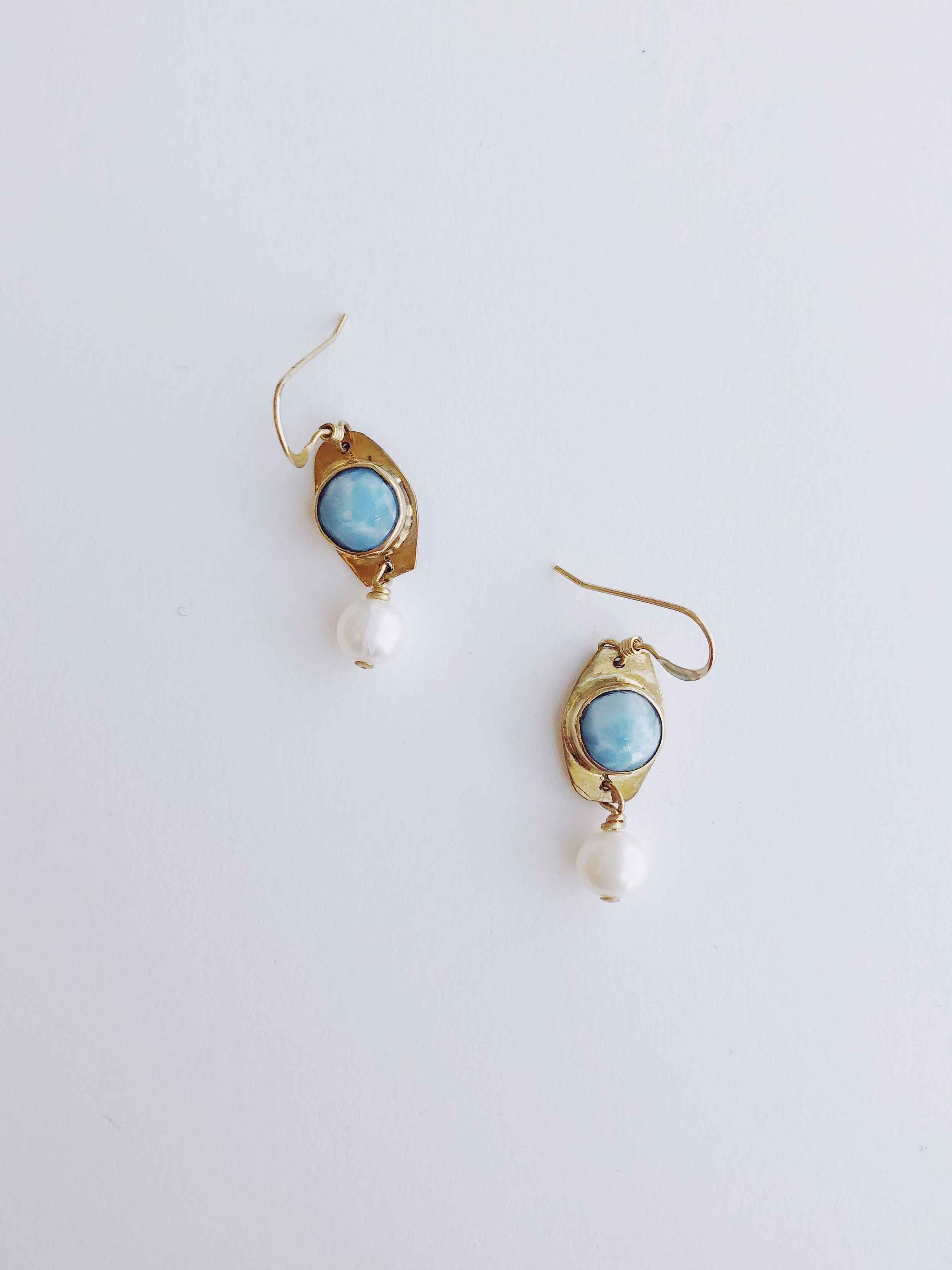 Larimar and Pearl Ear... by  Cathy Miller - Masterpiece Online