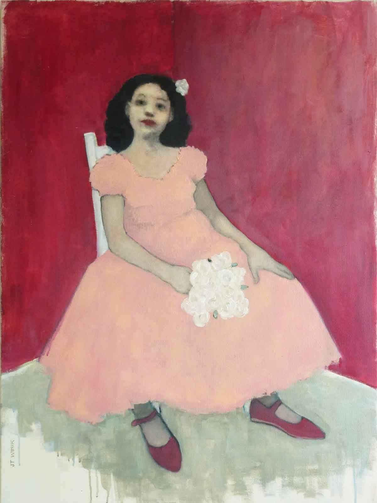 Pink Dress, Red Walls  by  J.T. Winik