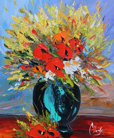 Flowers in a Round Va...  by  Louis  Magre