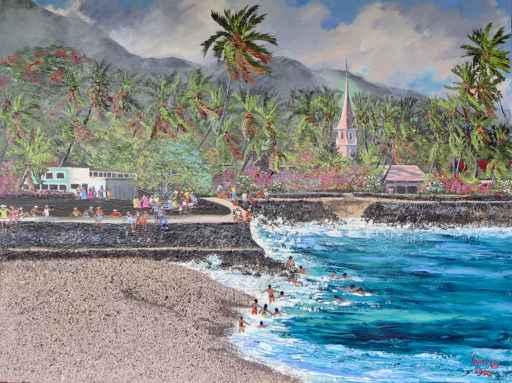 Kailua-Kona Pier by  Jeanne Lopes (1934-2009) - Masterpiece Online