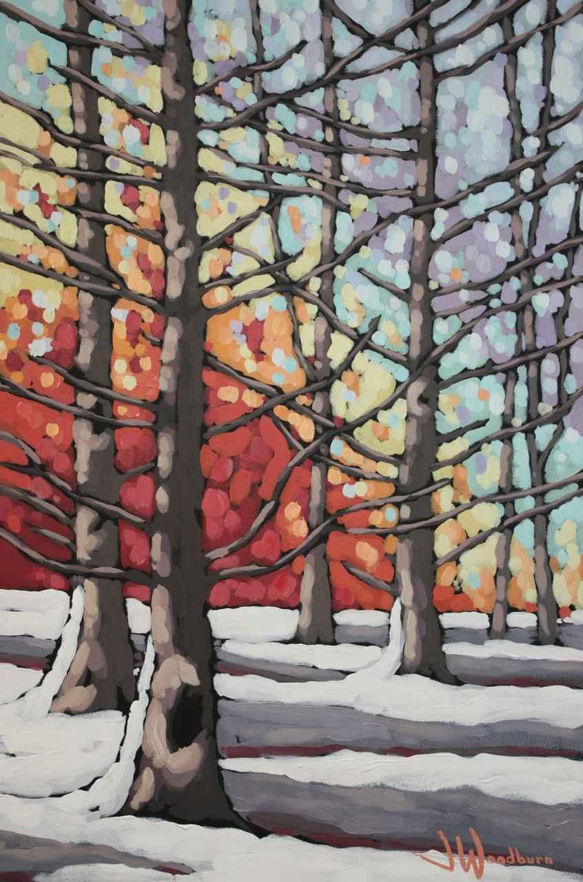 Fiery Winter Cedars by Ms Jennifer Woodburn - Masterpiece Online